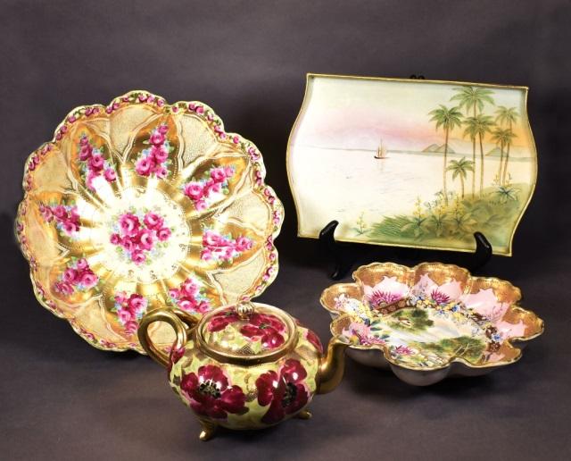 Two Pcs Nippon Porcelain Desert Scene Tray