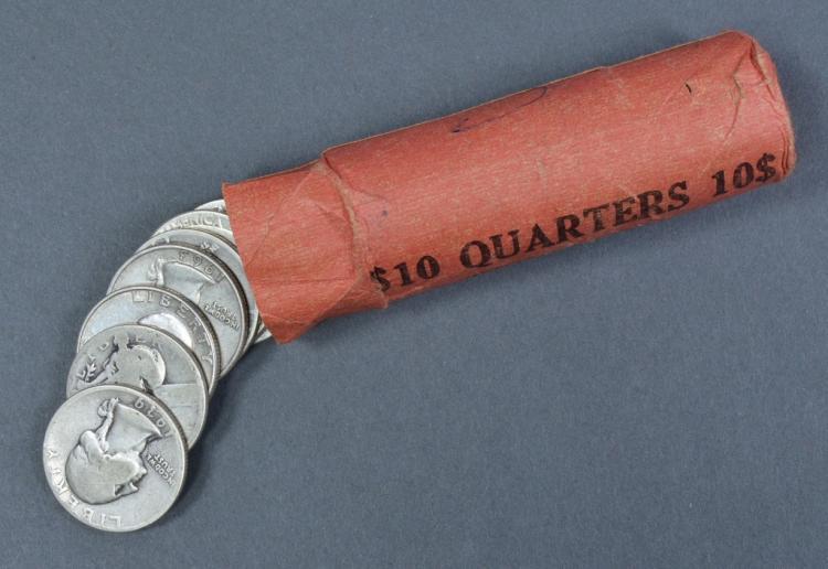 Roll of Silver Washington Quarters
