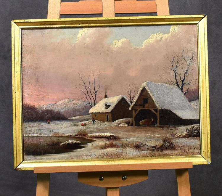 Oil on Canvas Snow Scene With Cottage