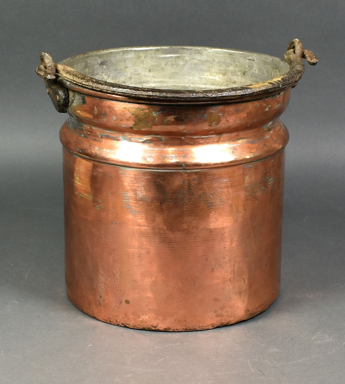 Early Copper Bucket w/Wrought Iron Handle