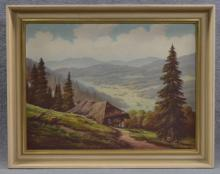 Oil on Canvas of Mountain and Valley