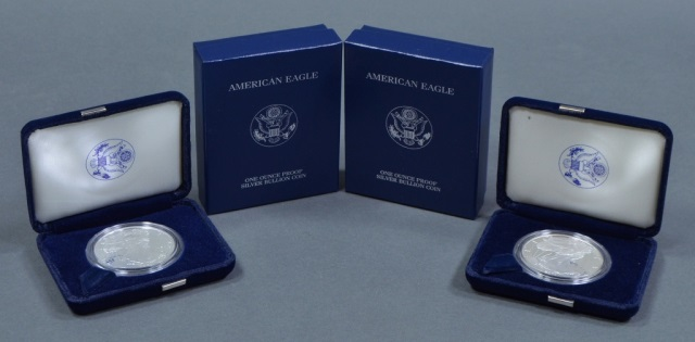 Two 2001-W Proof Silver Eagles