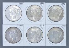 Six Peace Silver Dollars