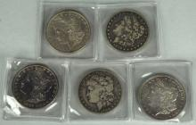 Five Circulated Morgan Dollars