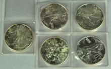 Five BU 1987 Silver Eagles