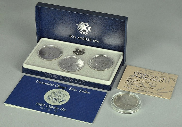 3-Coin Uncirc. Set of 1983 Olympic Silver Dollars