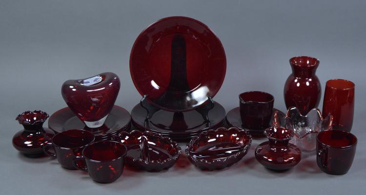 Approx. 20 Pcs Ruby Red Glassware