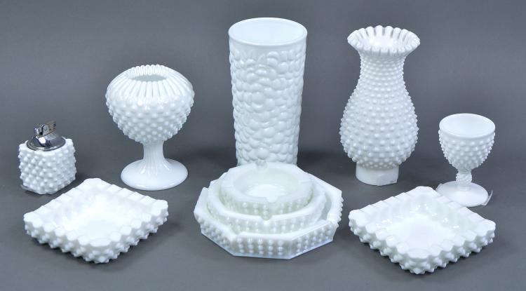 Bx Hobnail Milk Glass Items