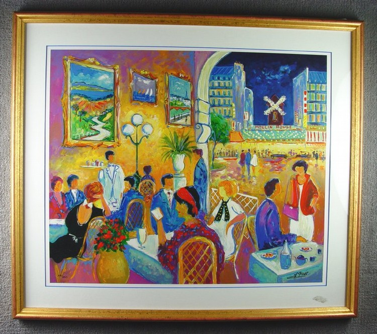 Picot, Jean-Claude (Paris, 1933)  Lithograph of restaurant near Moulin Rouge.  16
