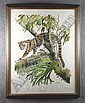 Singer, Arthur (American 1917-1990)  Print of clouded leopard.  Signed in pencil.  Water stains at bottom.  27 1/2