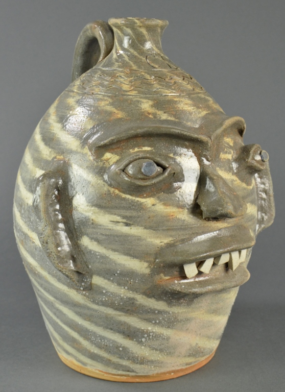 Swirled Charles Lisk North Carolina Face Jug