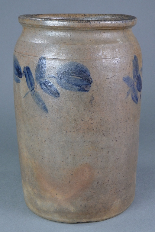 Cobalt Decorated Grey Stoneware Crock