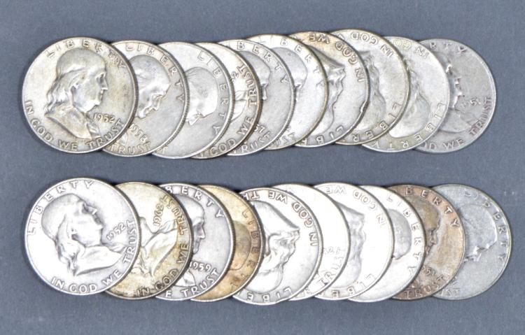 Roll of 90% Silver Franklin Half Dollars