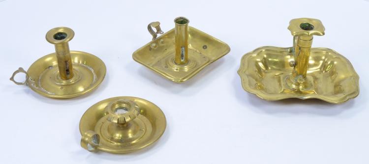 Four 19th Century Brass Chamber Sticks