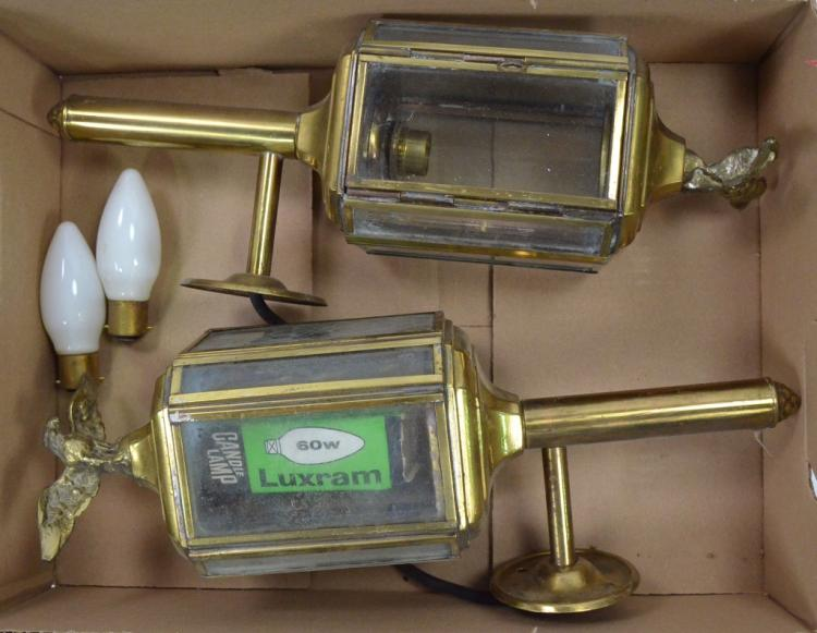 Pair of Vintage Brass Electric Lanterns