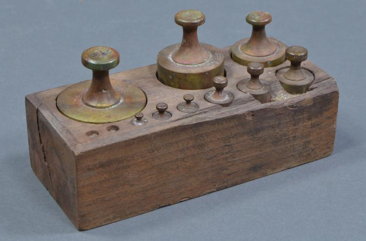 Brass Weight Set with Wooden Base