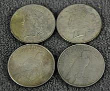 Four Peace Dollars