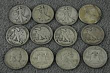 Twelve 90% Silver Half Dollars