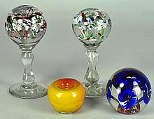 Four Glass Paperweights