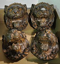 Bx Four Cast Lion Head Decorations