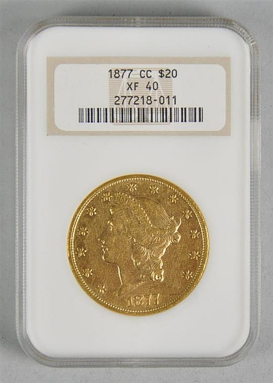 Very Scarce 1877-CC $20 Liberty Gold Coin