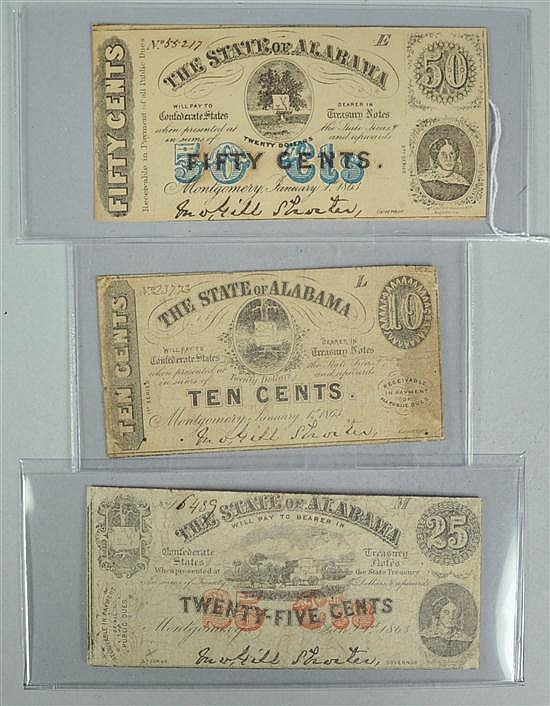 Three Obsolete Alabama Treasury Notes