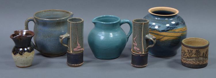 Bx Seven Pcs Hand Thrown Pottery