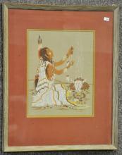 Woody Crumbo Watercolor of American Indian