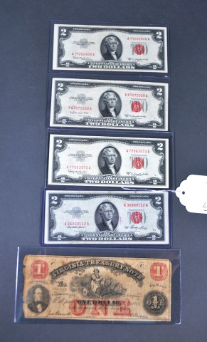 Four 1953 Red Seal $2.00 U.S. Notes