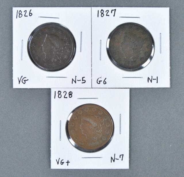 Three Coronet Head Cents