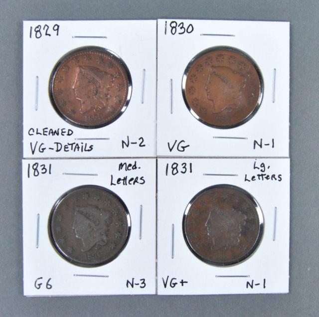 Four Coronet Head Large Cents