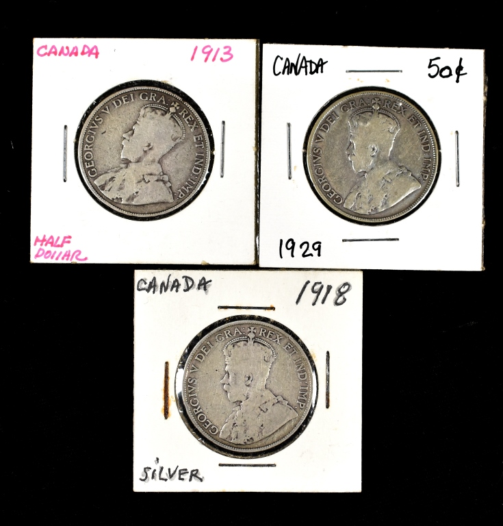 Three Canadian Silver Half Dollars