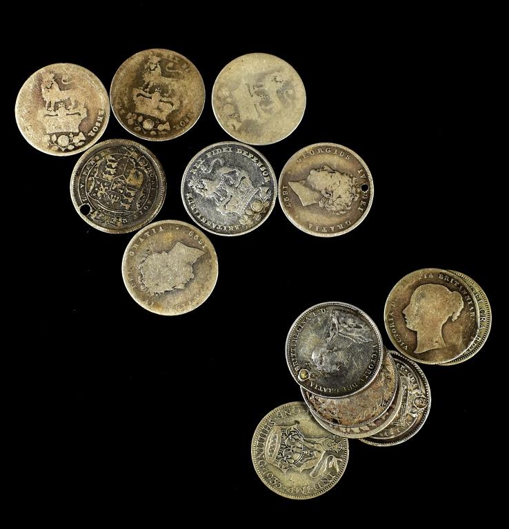 English Silver Shillings Group