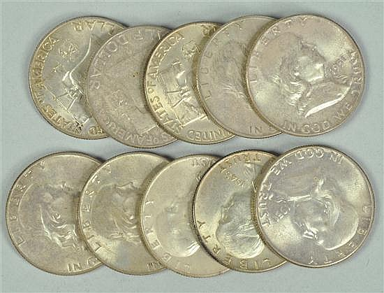 Ten Franklin Halves