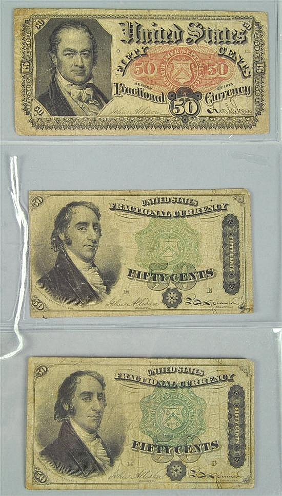 Three Scarce 50¢ Fractional Currency Notes