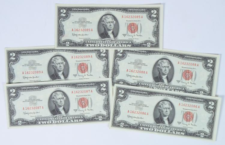 Five 1963A Two-Dollar Red Seal Notes