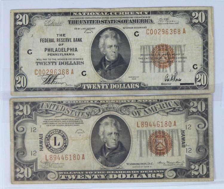 1929 $20 Philadelphia Fed. Reserve Brown Seal Note