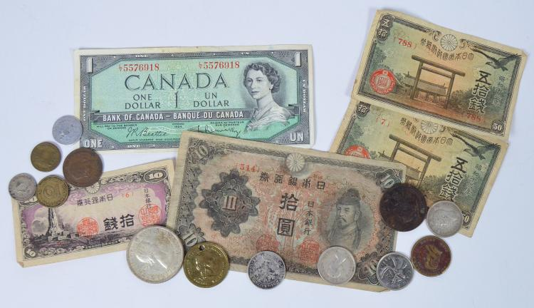 Misc. Lot of Foreign Coins & Currency