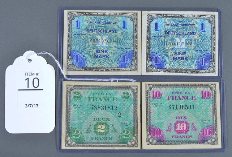 Four 1944 Allied Military Currency