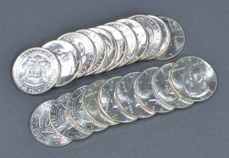 Roll of BU 1964-D Kennedy Half Dollars