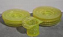 Bx Eight Vaseline Glass Dessert Plates