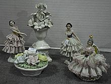 Bx Porcelain Figurines & Flowers