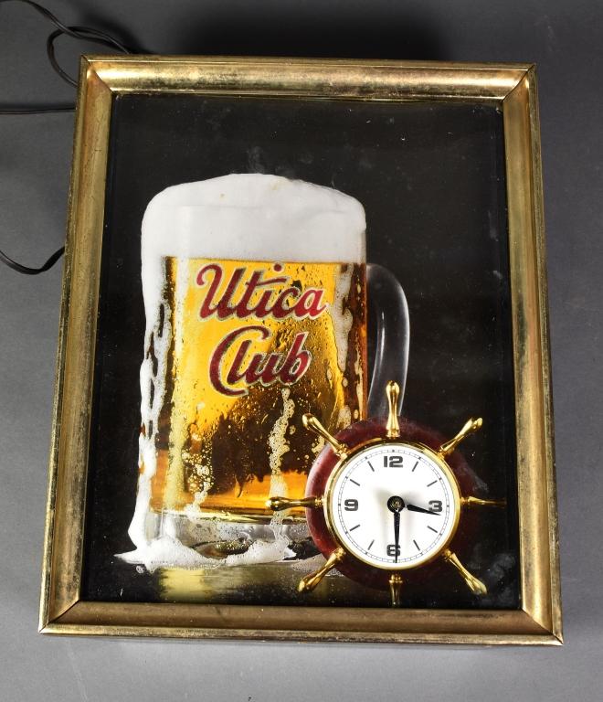 """""""Utica Club"""" Electric Advertising Clock"""