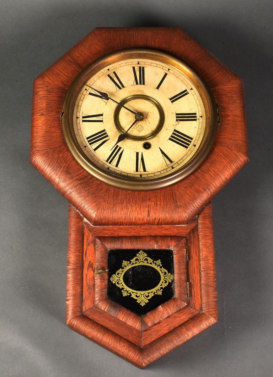 Ansonia Clock Company Oak Case Wall Clock