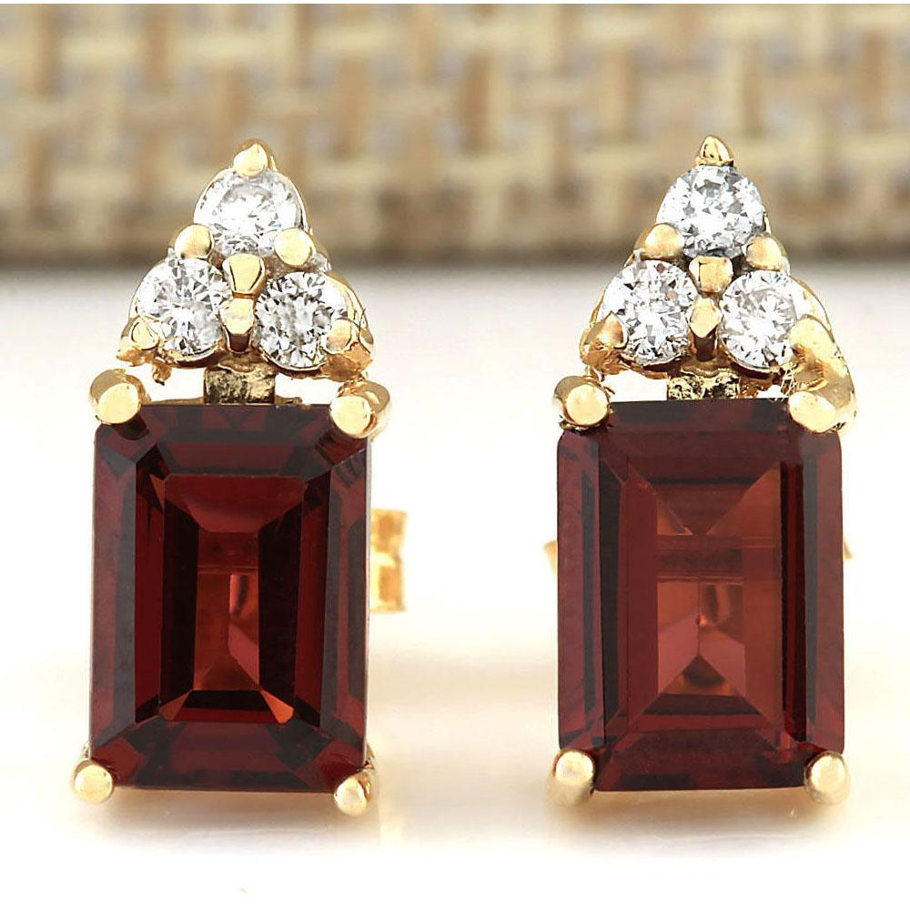 2.66 CTW Natural Garnet And Diamond Earrings 14k Solid Yellow Gold
