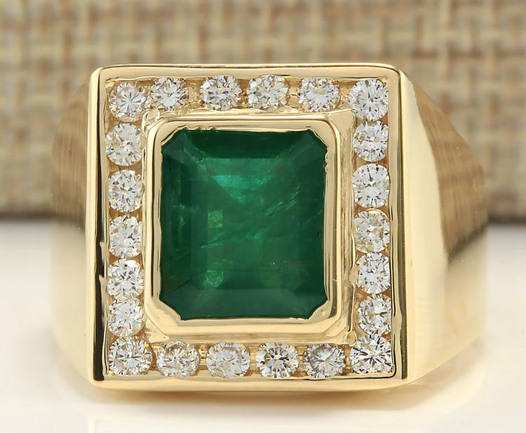 5 00CTW Natural Mens Emerald And Diamond Ring In 14K Yellow