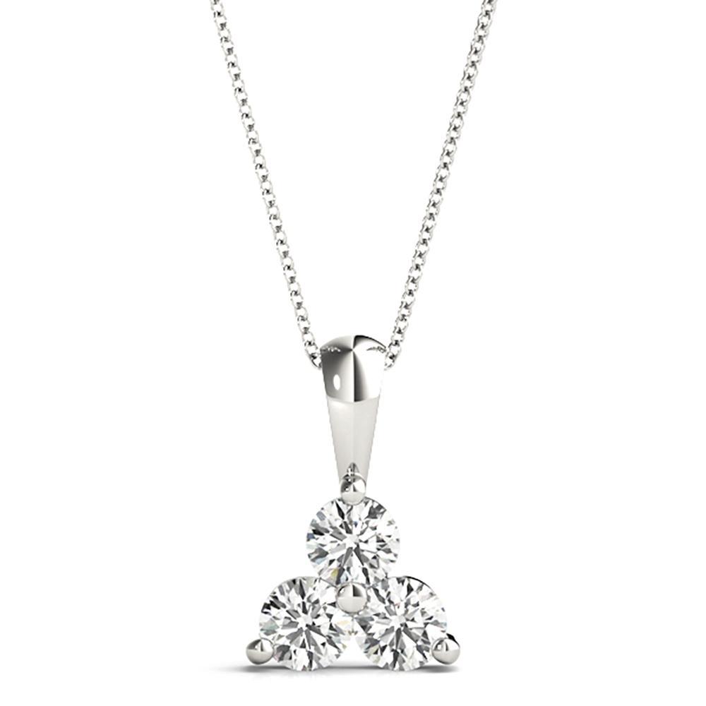 Natural 0.99 CTW Diamond Pendant 14K White Gold