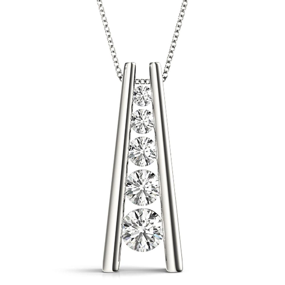 Natural 0.75 CTW Diamond Pendant 18K White Gold