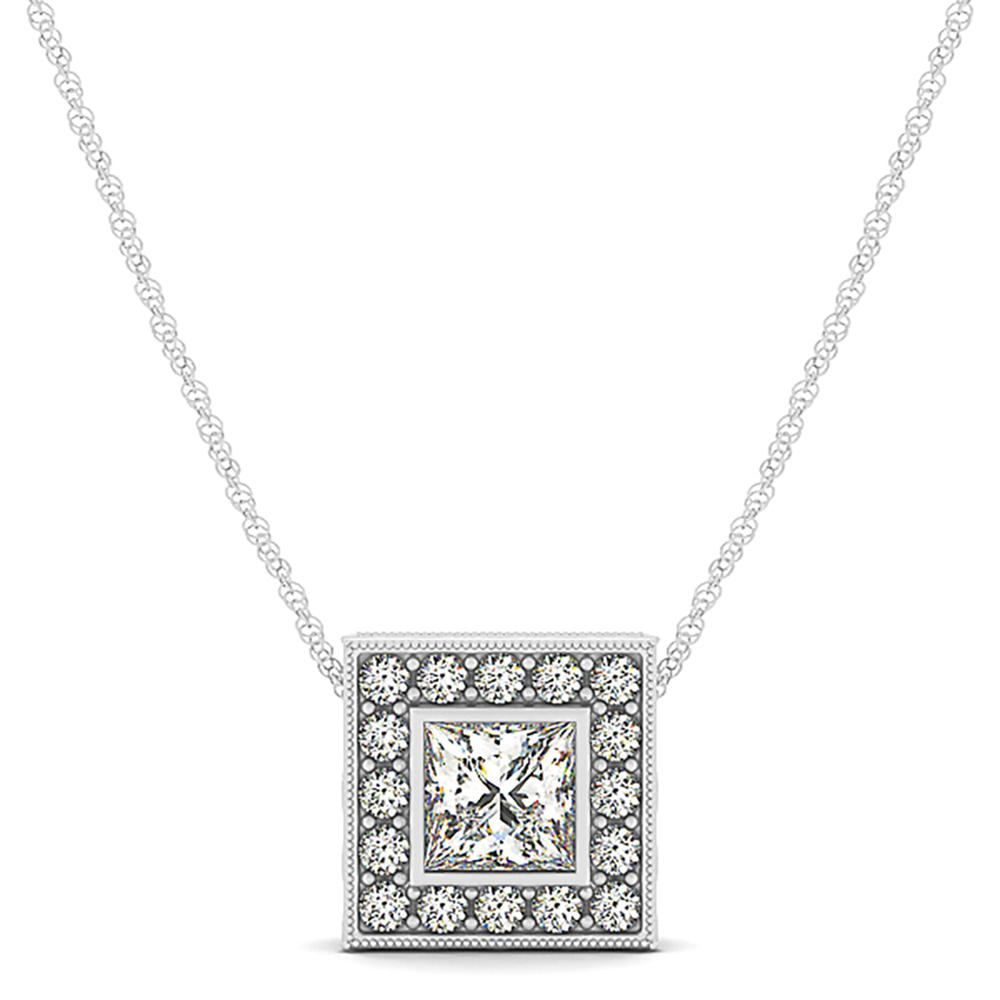 Natural 0.64 CTW Diamond Pendant 14K White Gold