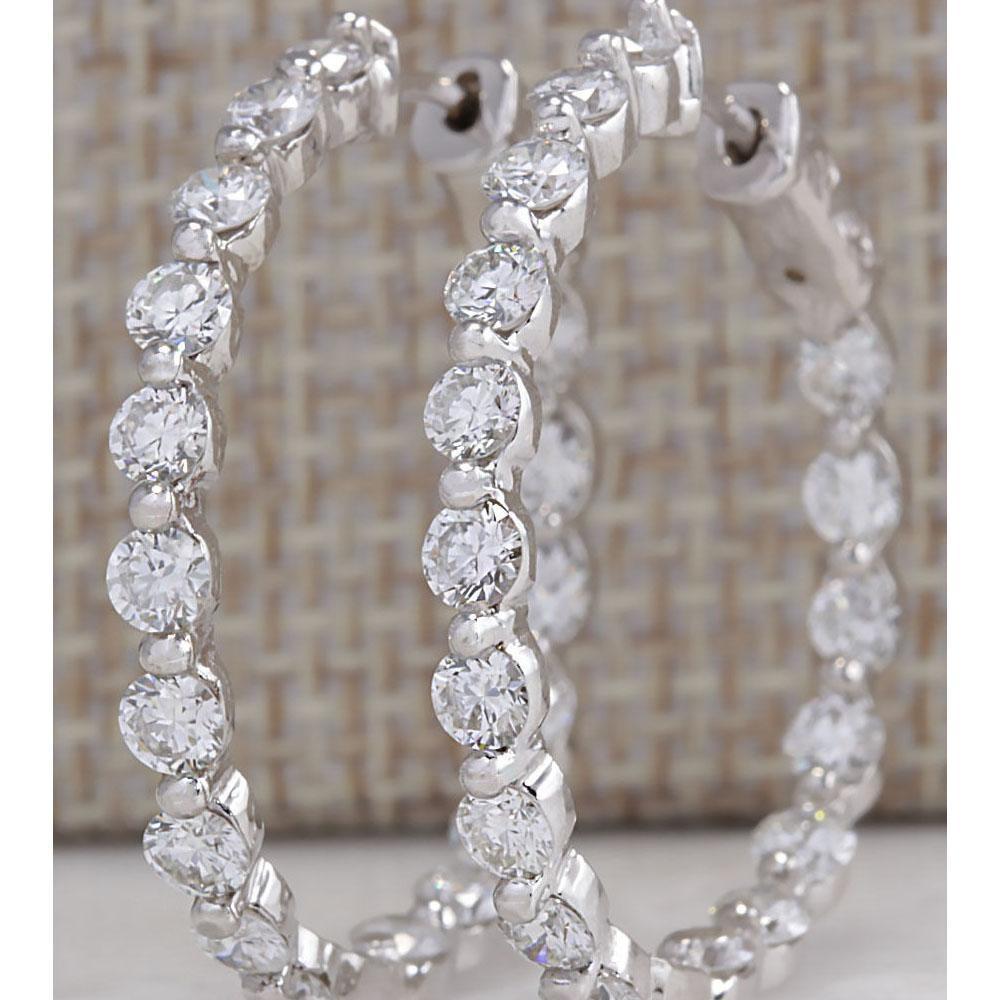 4.28 CTW Natural Diamond Hoop Earrings 18K Solid White Gold